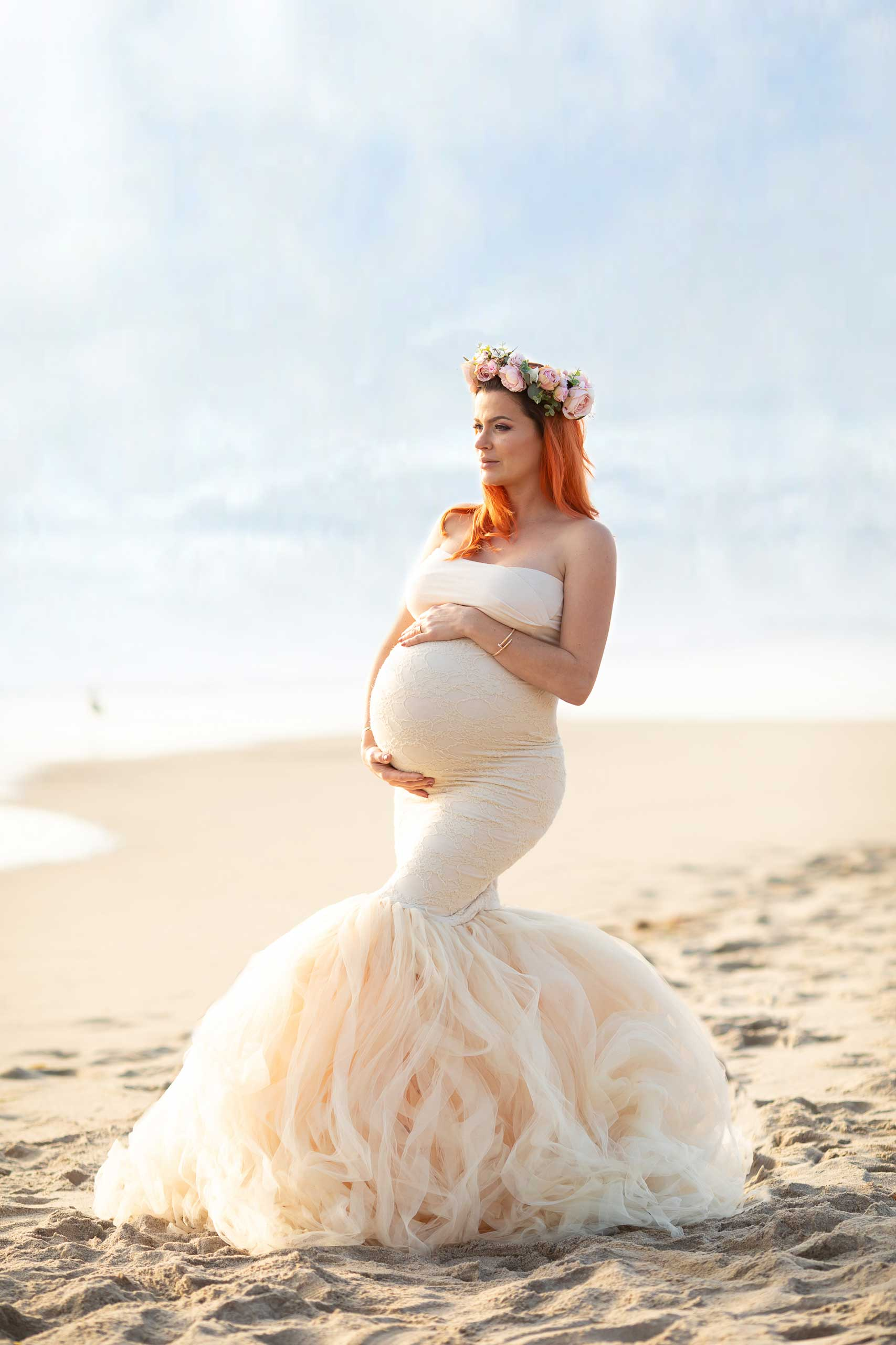 Maternity photos taken at the beach by Ramina Magid Photography in Malibu
